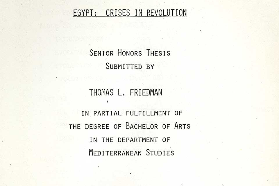 Title page of Thomas Friedman's Brandeis senior thesis: Egypt: Crises in Revolution