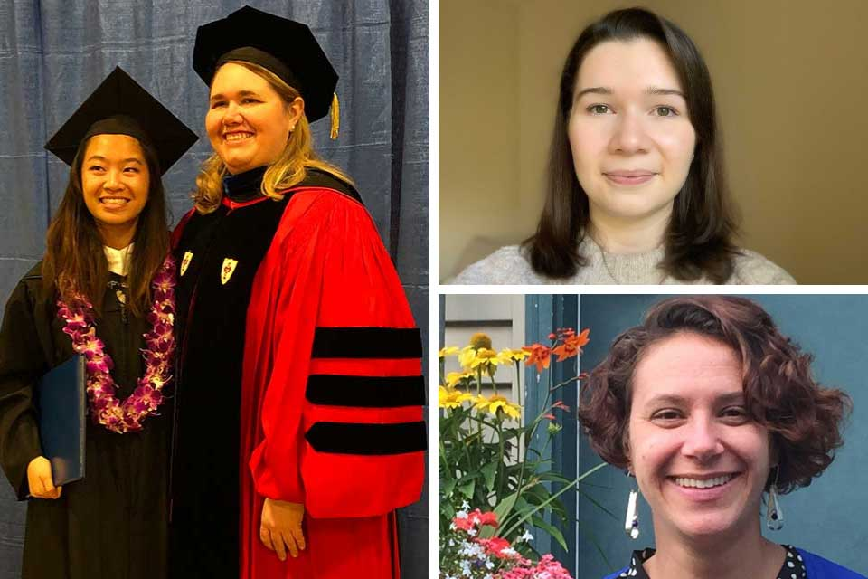 collage of three photos of alumnae Helen Wong and Alexandra Ratzlaff, Alana Hodson and Bonnie Ronish