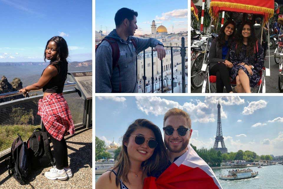 Photo grid of Brandeis Alumni in locales including Paris, Israel, Australia, and Singapore