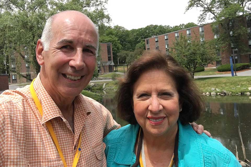 Mike Leiderman and Hermine Stern Leiderman standing outside  at Brandeis in 2016