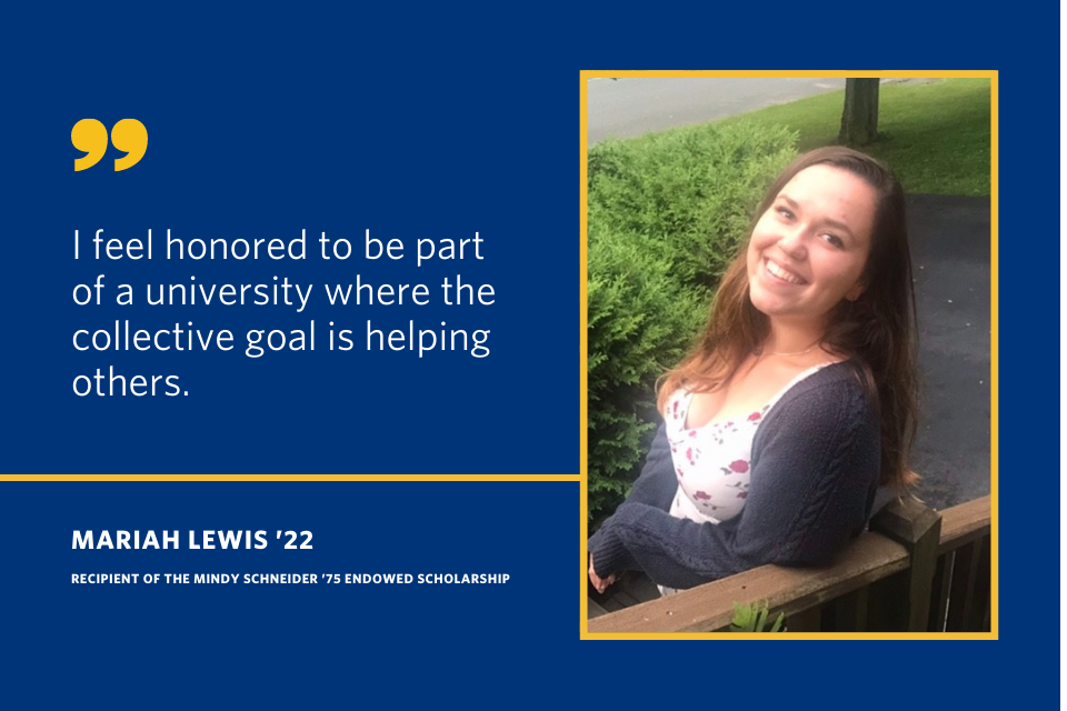 "A quote from Mariah Lewis that says ""I feel honored to be part of a university where the collective goal is helping others."""